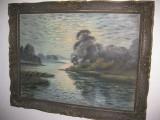 6041-Tablou vechi F.Mamas Austria peisaj ulei/panza spate placaj anii 1900-1930.