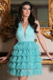 Rochie Artista baby-doll turquoise cu volanase