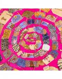 Batic dama matase naturala Pami animal print bags, 90x90 cm, ciclam