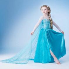 Rochie printesa Elsa din Frozen (Regatul de gheata) cu trena, 31 - 35, Bleu