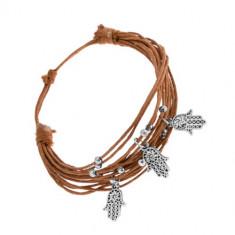 Brățară cu șnururi maro deschis, amulete din oțel - biluțe, Mâna Fatimei