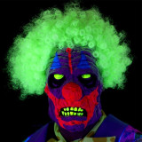 Masca Clown UV cu par afro, latex multicolor, aspect horror