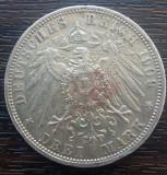 (A761) MONEDA DIN ARGINT GERMANIA, PRUSIA - 3 MARK 1909, LIT. A, WILHELM II, Europa