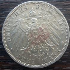 (A761) MONEDA DIN ARGINT GERMANIA, PRUSIA - 3 MARK 1909, LIT. A, WILHELM II