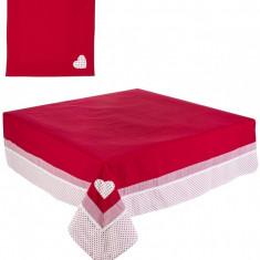 Fata de masa si set 6 servetele bumbac rosu alb Emily 145x180 cm