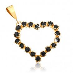Cumpara ieftin Pandantiv din aur 375 - contur de inimă simetrică încrustat cu safire negre