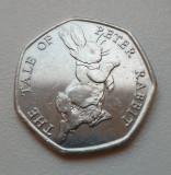 Monedă 50 pence 2017 Marea Britanie , The tale of Peter Rabbit, Europa