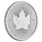 Moneda argint 999 lingou,Maple leaf cu dubla incuse 1 uncie = 31 grame