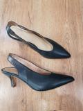 LICHIDARE STOC ! Superbi pantofi dama piele naturala integral 39,5, 40, Bleumarin, Cu toc