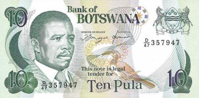 BOTSWANA █ bancnota █ 10 Pula █ 1992 █ P-12 █ UNC █ necirculata foto
