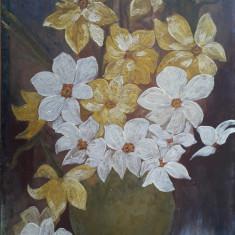 Vaza cu narcise - pictură în ulei semnată Eneşel