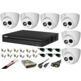 Cumpara ieftin Kit supraveghere video 6 camere Dahua Dome HDCVI 2MP cu IR 50 cu toate accesoriile, soft internet, microfon, difuzor