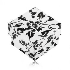 Cutie de cadou pentru inel, alb cu negru cu motiv floral
