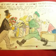 Caricatura anii '50- Acuarela -Manifestatie cu Plutonier - dim.=21x29cm