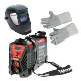 Pachet: Aparat de sudura Almaz, 250 A, 13 kVA, electrozi 1.6 - 5 mm, afisaj electronic + Masca de sudura cu reglaj automat, sudura MMA/MIG/MAG/TIG + M