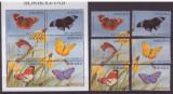 34-ANGOLA-fluturi-Serie si colita tematica fluturi,nestampilate,calitate MNH