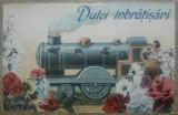 Dulci imbratisari// felicitare interbelica, Necirculata, Printata