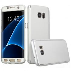 Husa Samsung Galaxy S7 Edge Flippy Full Cover 360 Argintiu + Folie de protectie, Carcasa