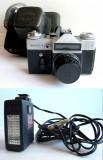 Aparat foto clasic ZENIT E cu blitz Elektronika FE-27, ambele functionale