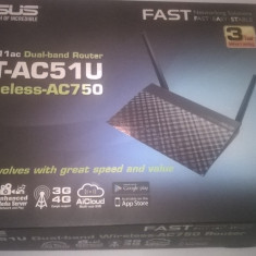 Router Wireless Asus RT-AC51U, AC750, 300 + 433 Mbps,4 x RJ45, USB 2.0, Black