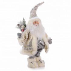Figurina Mos Craciun argintiu cm 33x15x70H