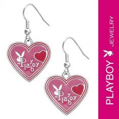 Cercei PLAYBOY - inimi roz smălțuite