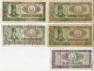 5 x Bancnote 25 lei / 10 lei 1966 Perioada Comunista Romania foto