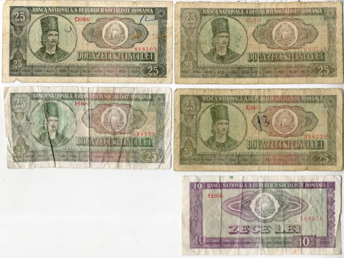 5 x Bancnote 25 lei / 10 lei 1966 Perioada Comunista Romania