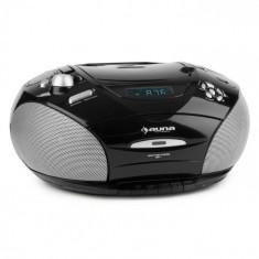 Auna RCD 220 CD Boombox casetofon USB Reglaj radio FM MP3 2x2W negru