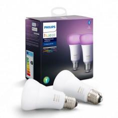 Set 2 becuri inteligente LED Philips Hue, Bluetooth, E27, 9W(60W),2200K-6500K, 220V-240V
