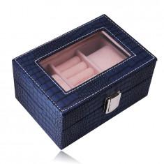 Cutie de bijuterii în formă de dreptunghi într-o culoare albastru închis - imitație de piele de crocodil, cataramă