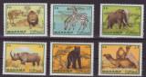 95-MANAMA-Animale-Serie de timbre -leu,zebra,elefant,rinocer,urs,camila,MNH, Nestampilat