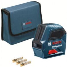 Nivela laser cu linii Bosch GLL 2-10, 10 m, +/-0.3 mm/m, 2 linii laser, fascicul rosu, geanta textila (Albastru)