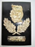 Placheta, Metal pe lemn, Romania 1950 - Schi