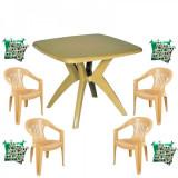 Set balcon FEIJO masa cu 4 scaune Carnaval culoare bej,4 perne scaun B001078 Raki