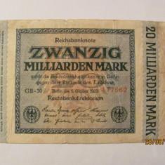 CY 20000000000 20 miliarde marci mark 01.10.1923 Reichsbanknote Germania unifata