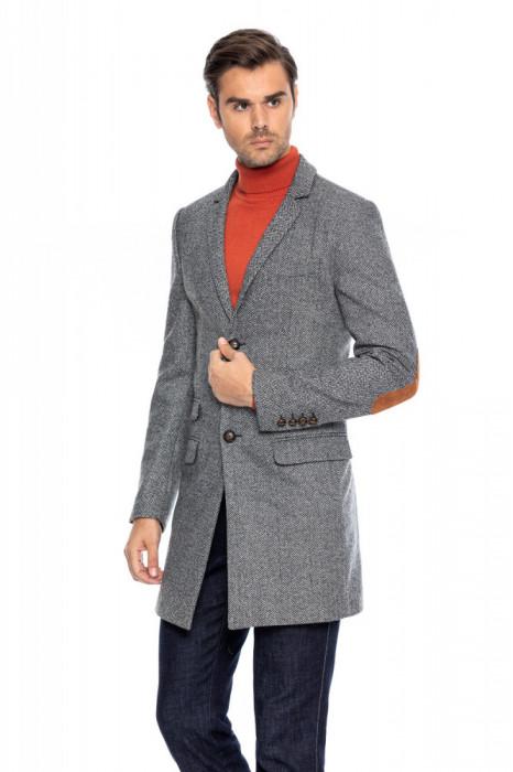 Palton barbati slim gri bradut B116