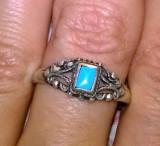 argint 925 ANTIC ! ,  inel deosebit cu turcoaz natural !