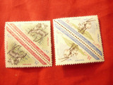 4 Timbre in 2 perechi Yemen Sud 1970 Fauna 2x25 si 2x35 fils -triunghi, Nestampilat