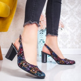 Pantofi Piele dama cu toc multicolor Rozelia