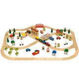 Circuit auto si feroviar, 101 piese, 102 x 76 cm asamblat, Bigjigs