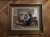 Tablou,pictura veche belgiana in ulei pe panza,,personaje la masa,semnata, Nonfigurativ, Altul
