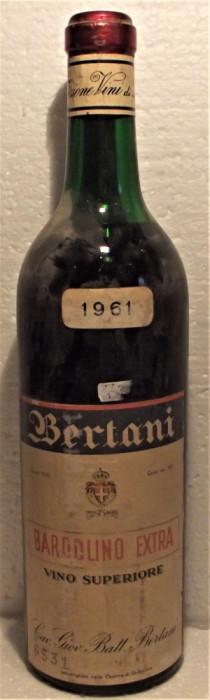 A35- VIN BARDOLINO EXTRA BERTANI, VINO SUPERIORE, recoltare 1961 cl 70 gr 12,3