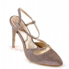 PDS86-7 Pantofi aurii cu slipici