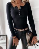 Bluza dama basic neagra reiata cu decolteu cu nasturi