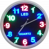 Ceas de perete, quartz, cu cifre iluminate cu LED-uri