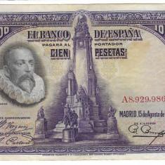 Bancnota 100 pesetas 1928 - Spania