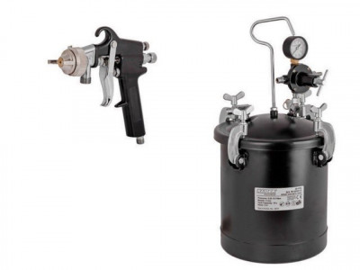 Pistol de vopsit pneumatic cu rezervor sub presiune 10 L Raider Power Tools foto