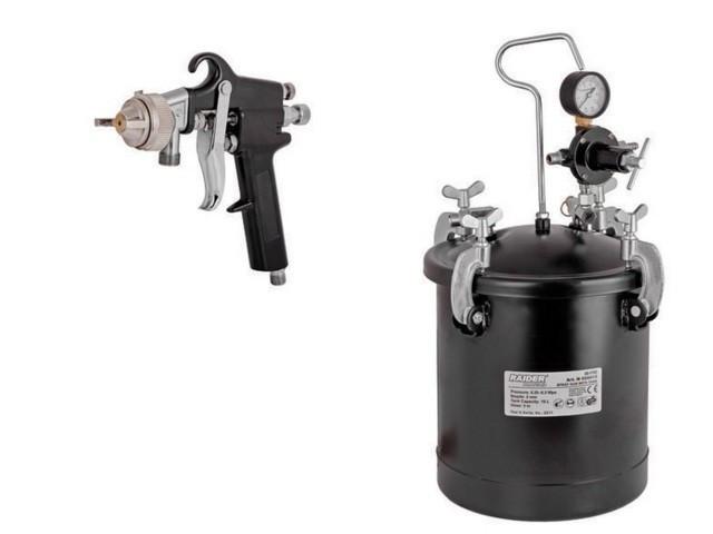 Pistol de vopsit pneumatic cu rezervor sub presiune 10 L Raider Power Tools