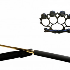 Set baston telescopic 65 cm auriu box rozeta skull negru